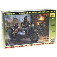 """Набор миниатюр """"Немецкий мотоцикл БМВ Р-12 с коляской и экипажем"""""""