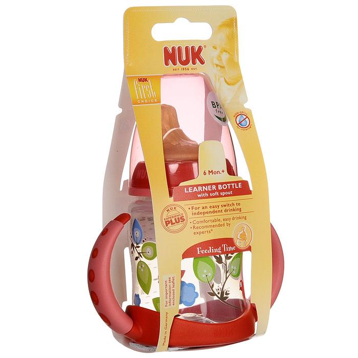 Бутылочка для питья NUK  First Choice , с латексной насадкой, 150 мл, от 6 месяцев, цвет: красный -  Поильники