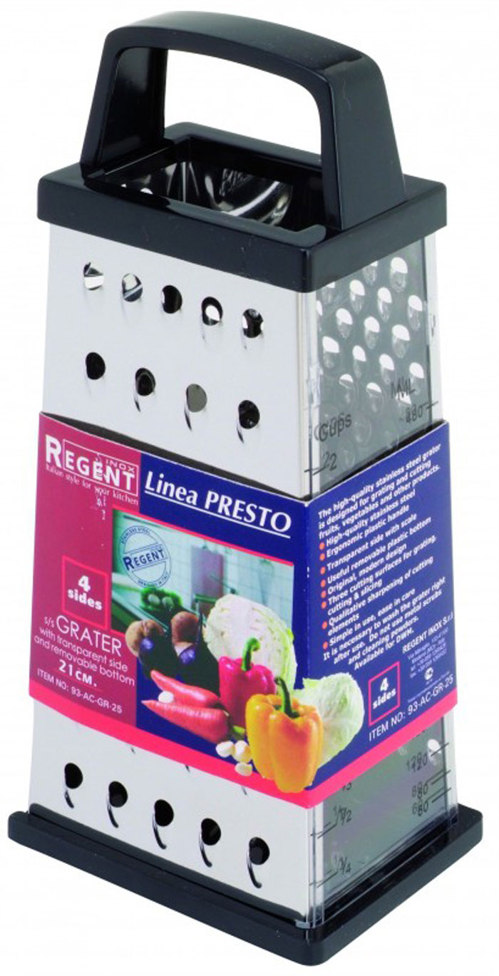 """Фото Терка Regent Inox """"Presto"""" четырёхгранная, со съёмным дном, цвет: чёрный, стальной. 93-AC-GR-25. Купить  в РФ"""