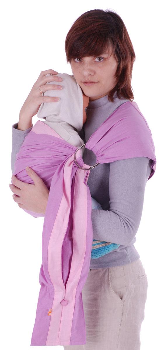 Слинг на кольцах  Бабочка , цвет: сиреневый, розовый. Размер S -  Рюкзаки, слинги, кенгуру
