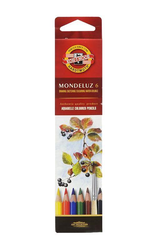 Карандаши цветные акварельные  Mondeluz , 6 цветов -  Карандаши