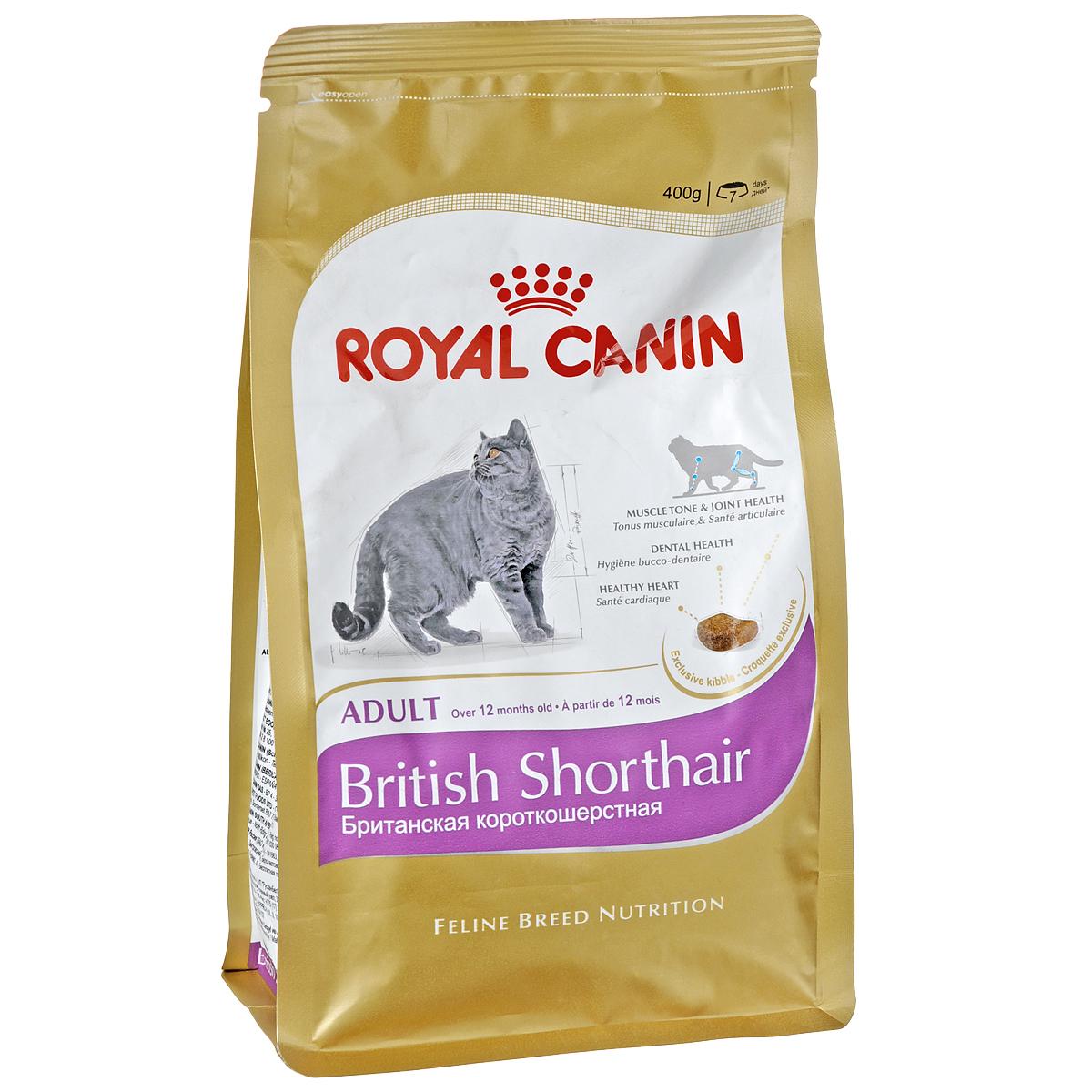 """Фото Корм сухой Royal Canin """"British Shorthair Adult"""", для  британских короткошерстных кошек старше 12 месяцев, 400 г. Купить  в РФ"""