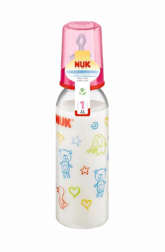 Бутылочка пластиковая  NUK , с силиконовой соской для молока, 240 мл, от 0 до 6 месяцев, в ассортименте -  Бутылочки