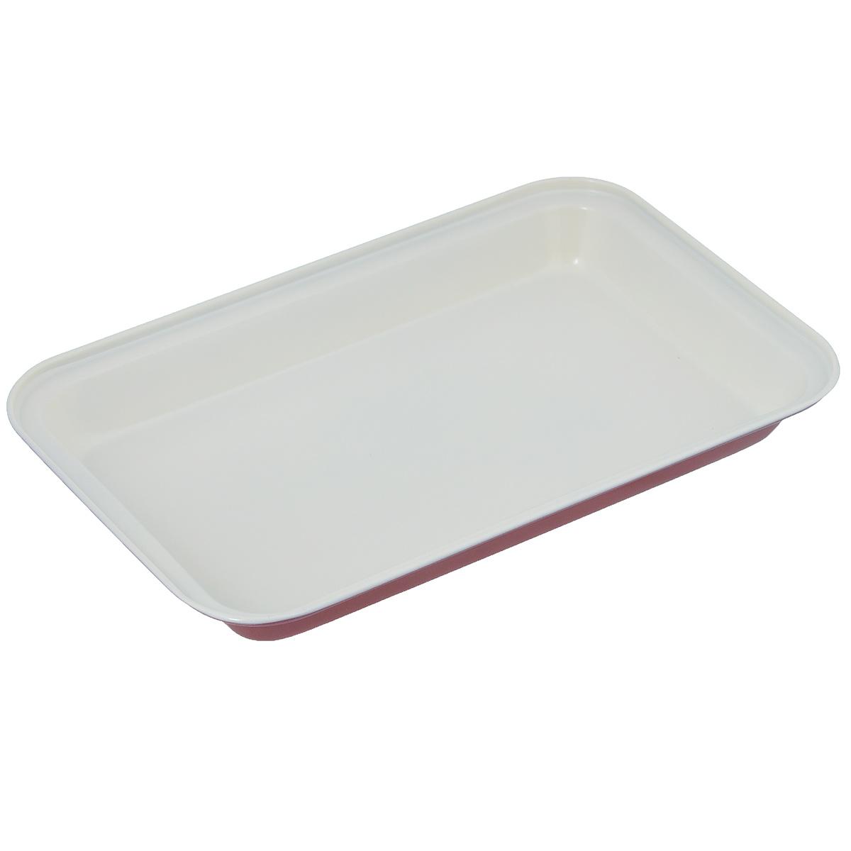 """Фото Форма для выпечки """"Bekker"""", с  керамическим покрытием, прямоугольная, цвет: красный, белый, 18 см х 28 см. Купить  в РФ"""