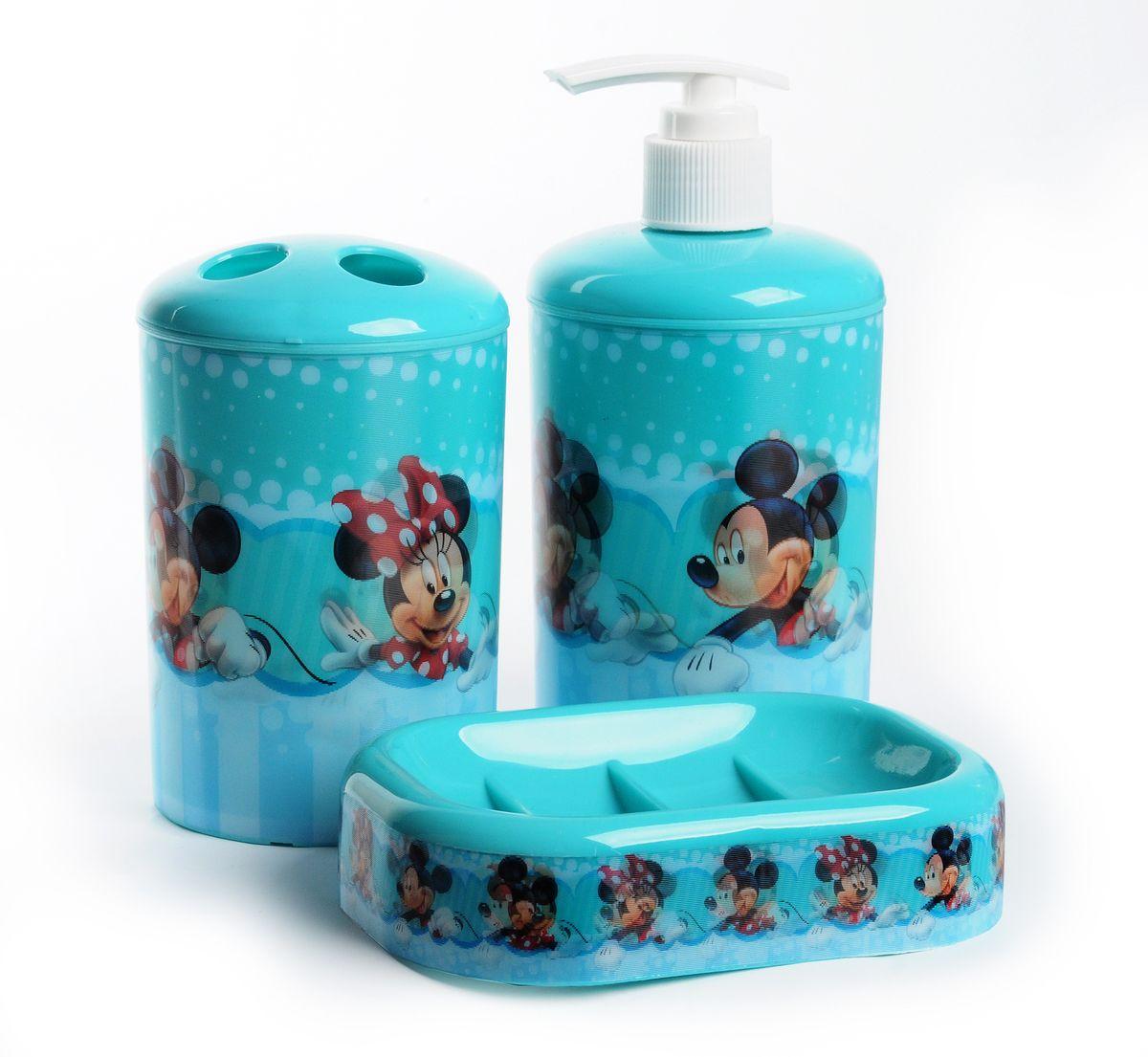 """Фото Набор для ванной комнаты Disney """"Микки и Минни Маус"""", цвет: голубой, 3 предмета. Купить  в РФ"""