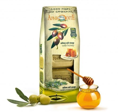 Фото Aphrodite Набор оливкового мыла для тела, с медом, ванилью и розмарином, для сухой и жирной кожи, 220 г, 2 шт. Купить  в РФ