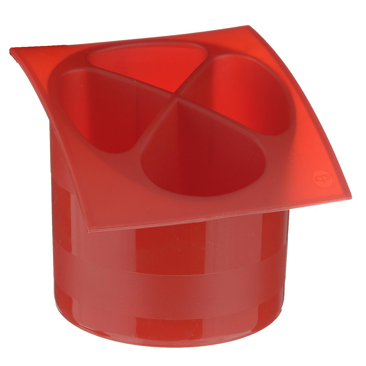 """Фото Подставка для столовых приборов """"Cosmoplast"""", цвет: красный, диаметр 14 см. Купить  в РФ"""