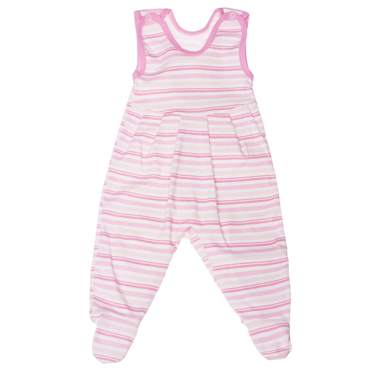 Фото Ползунки с грудкой Трон-плюс, цвет: розовый, белый. 5247_полоска. Размер 62, 3 месяца. Купить  в РФ