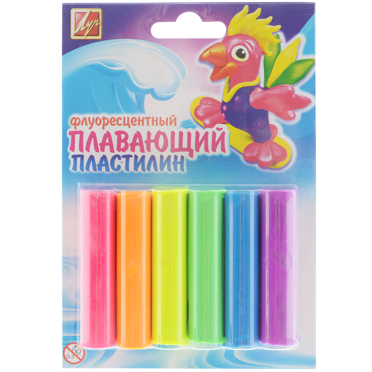 Пластилин плавающий флуоресцентный  Луч , 6 цветов -  Пластилин