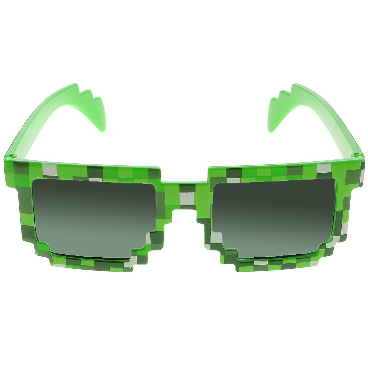Minecraft Очки солнечные Пиксельные цвет зеленый черный -  Очки карнавальные
