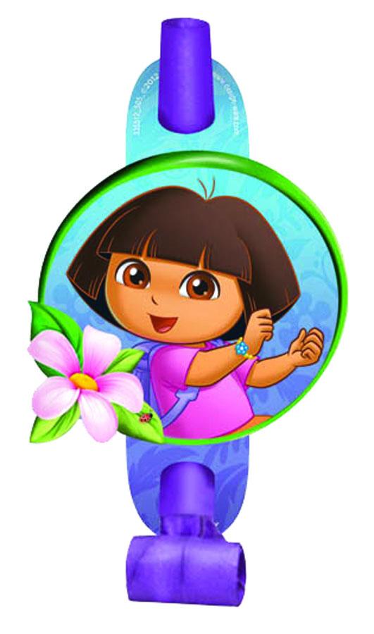 Веселая затея Язык-гудок с карточкой Даша-путешественница 8 шт -  Аксессуары для детского праздника