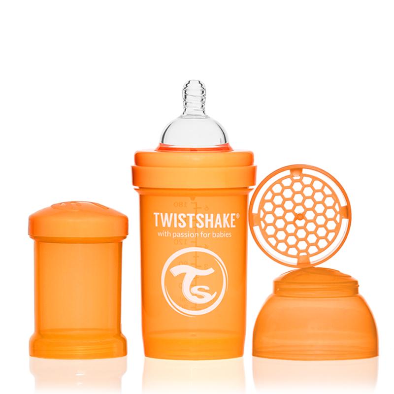 Twistshake Бутылочка для кормления 180 мл с контейнером для сухой смеси и соской 0+, оранжевая -  Бутылочки