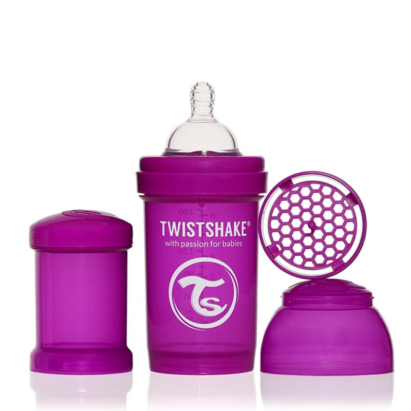Twistshake Бутылочка для кормления 180 мл с контейнером для сухой смеси и соской 0+, лиловая -  Бутылочки