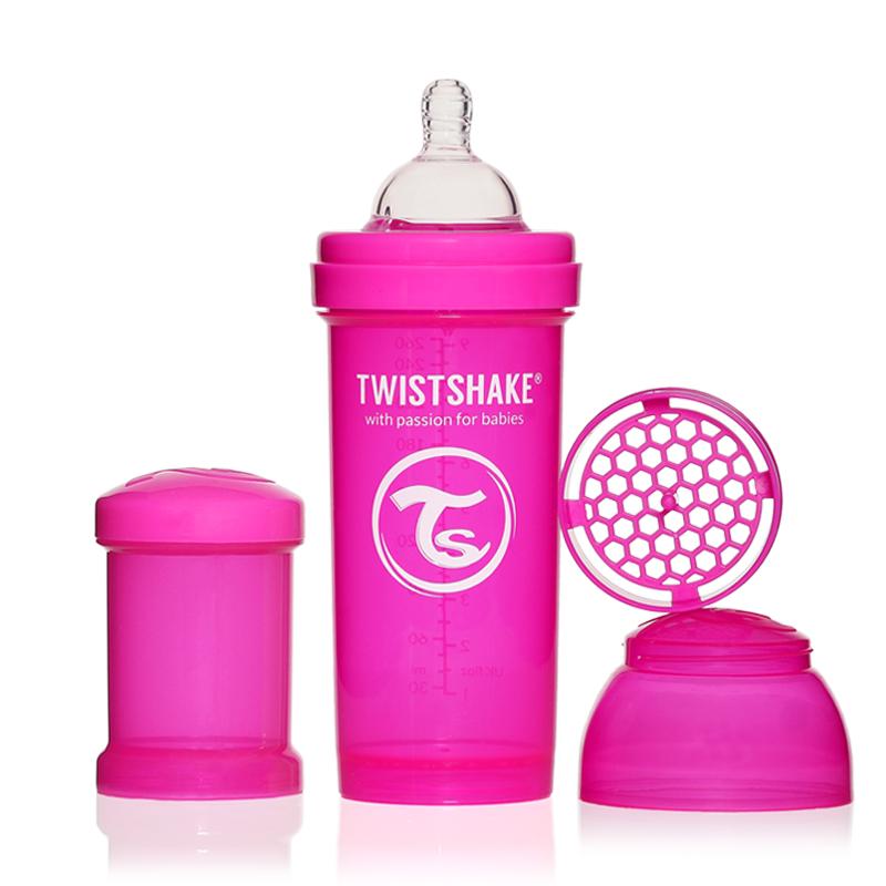 Twistshake Бутылочка для кормления 260 мл с контейнером для сухой смеси и соской 2+, розовая -  Бутылочки