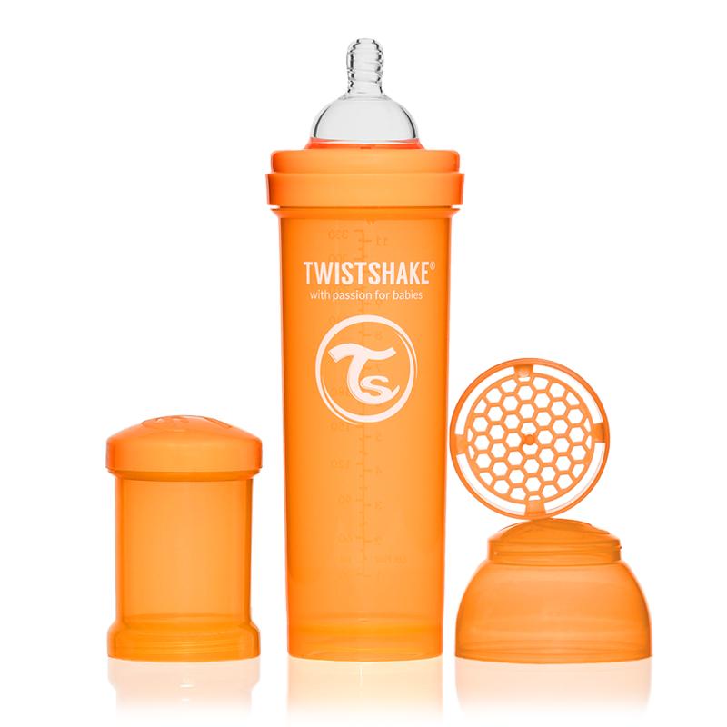 Twistshake Бутылочка для кормления 330 мл с контейнером для сухой смеси и соской 4+, оранжевая -  Бутылочки
