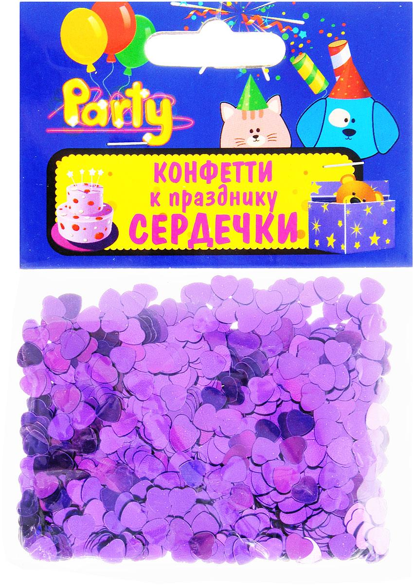Action! Конфетти Сердечки цвет фиолетовый 14 г -  Конфетти