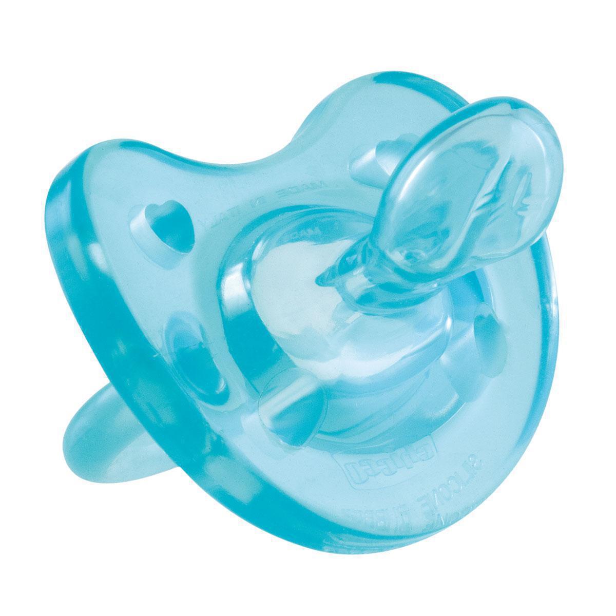 Фото Chicco Пустышка Physio Soft силиконовая от 12 месяцев цвет голубой. Купить  в РФ