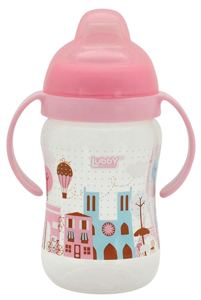 Lubby Поильник-непроливайка Любимый от 6 месяцев цвет розовый 250 мл