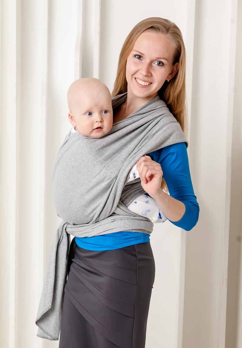 Мамарада Слинг-Шарф для новорожденных серый меланж размер 42-52