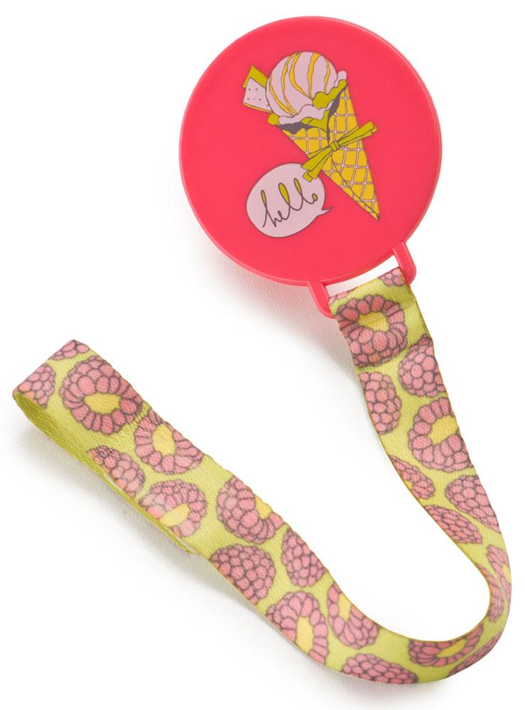 Happy Baby Клипса-держатель для пустышки Hello цвет коралловый -  Все для детского кормления