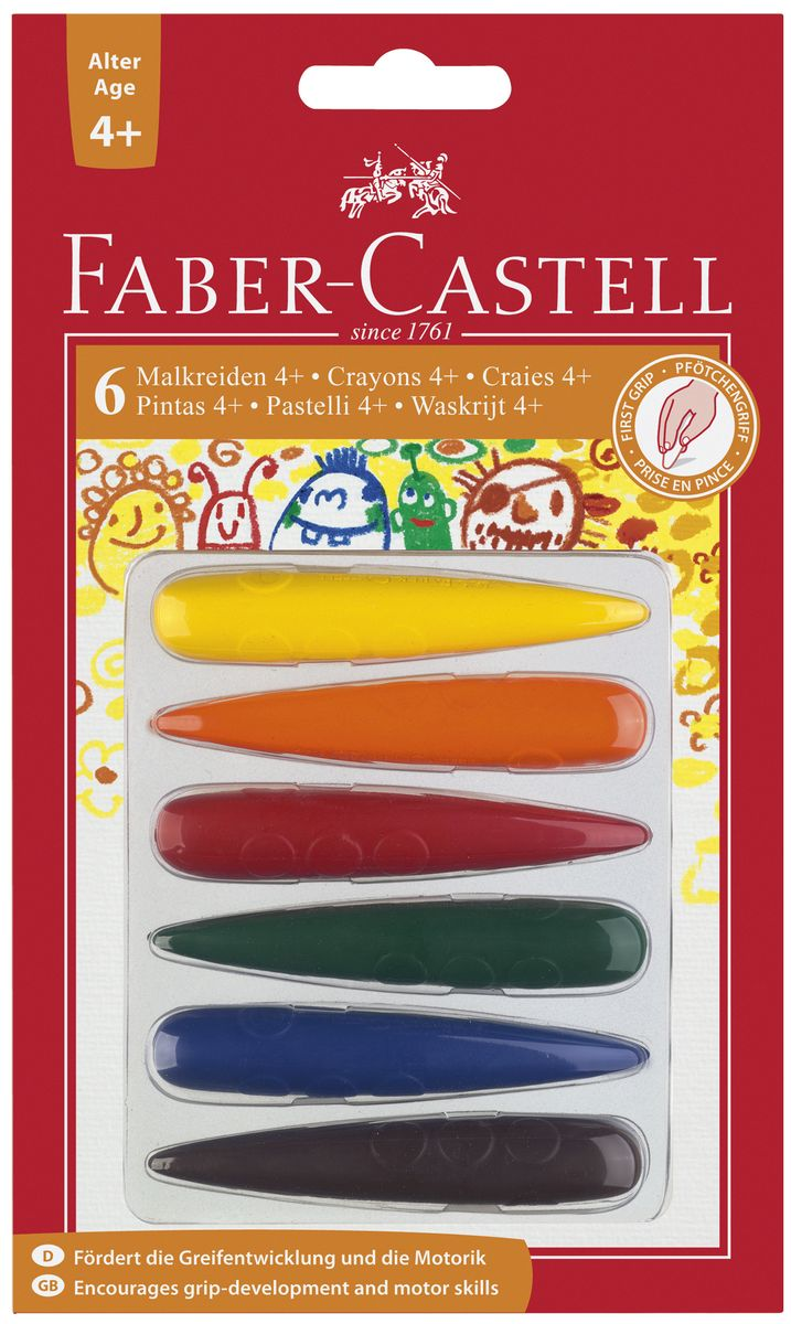 Faber-Castell Мелки цветные для дошкольного возраста 6 цветов -  Мелки и пастель