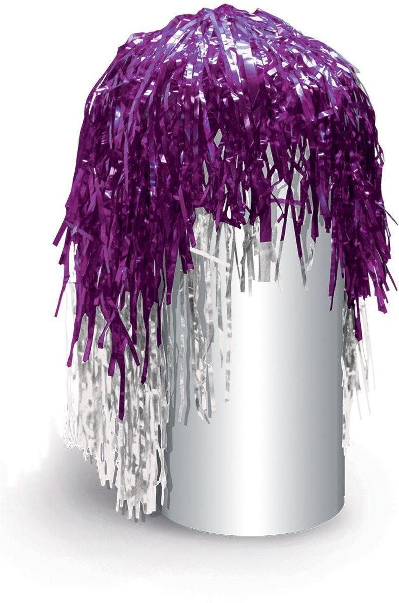 Partymania Маскарадный парик из дождика Веселый праздник цвет фиолетовый белый -  Парики