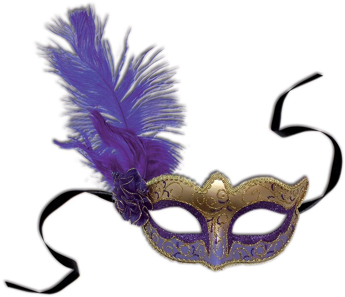 Partymania Маска карнавальная Венеция цвет фиолетовый золотой -  Маски карнавальные