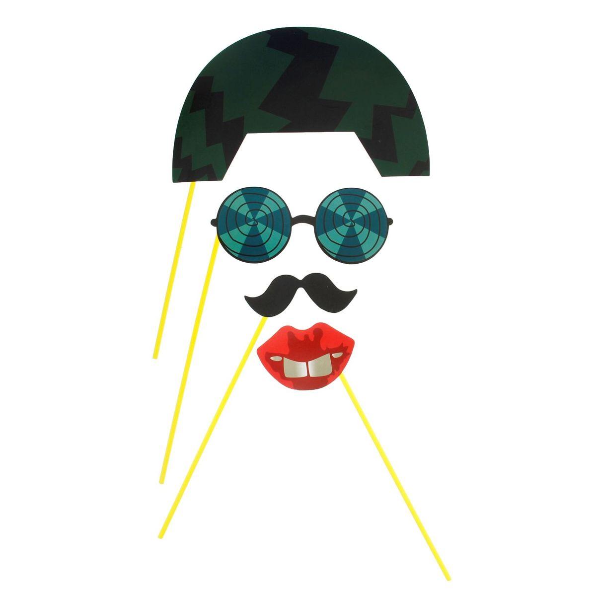 Аксессуары для фотосессии Страна Карнавалия  Каска, очки, губки, усы , 4 предмета -  Карнавальные костюмы и аксессуары