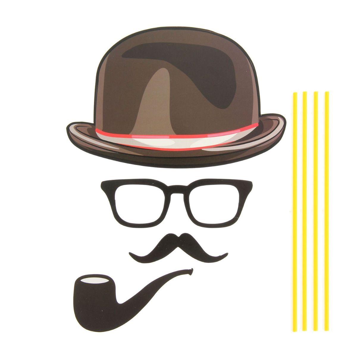 Карнавальный набор для фотосессии Страна Карнавалия  Джентльмен , 4 предмета: шляпа, очки, усы, трубка -  Карнавальные костюмы и аксессуары