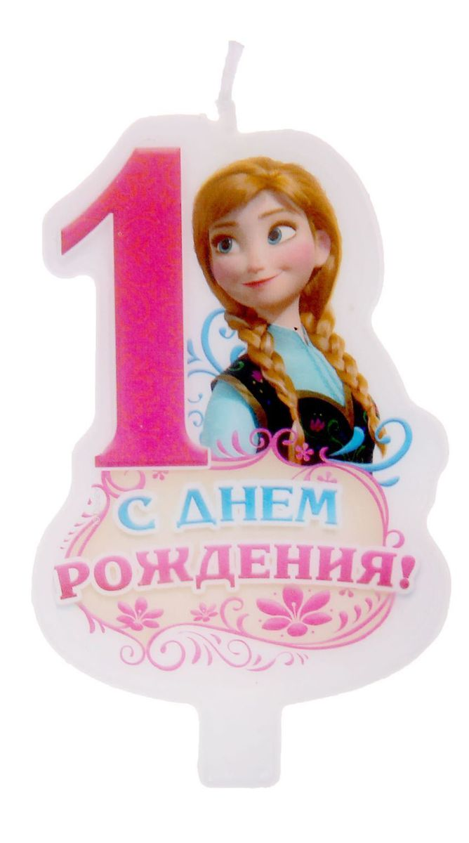 Disney Свеча для торта С днем рождения Цифра 1 Холодное сердце -  Свечи для торта