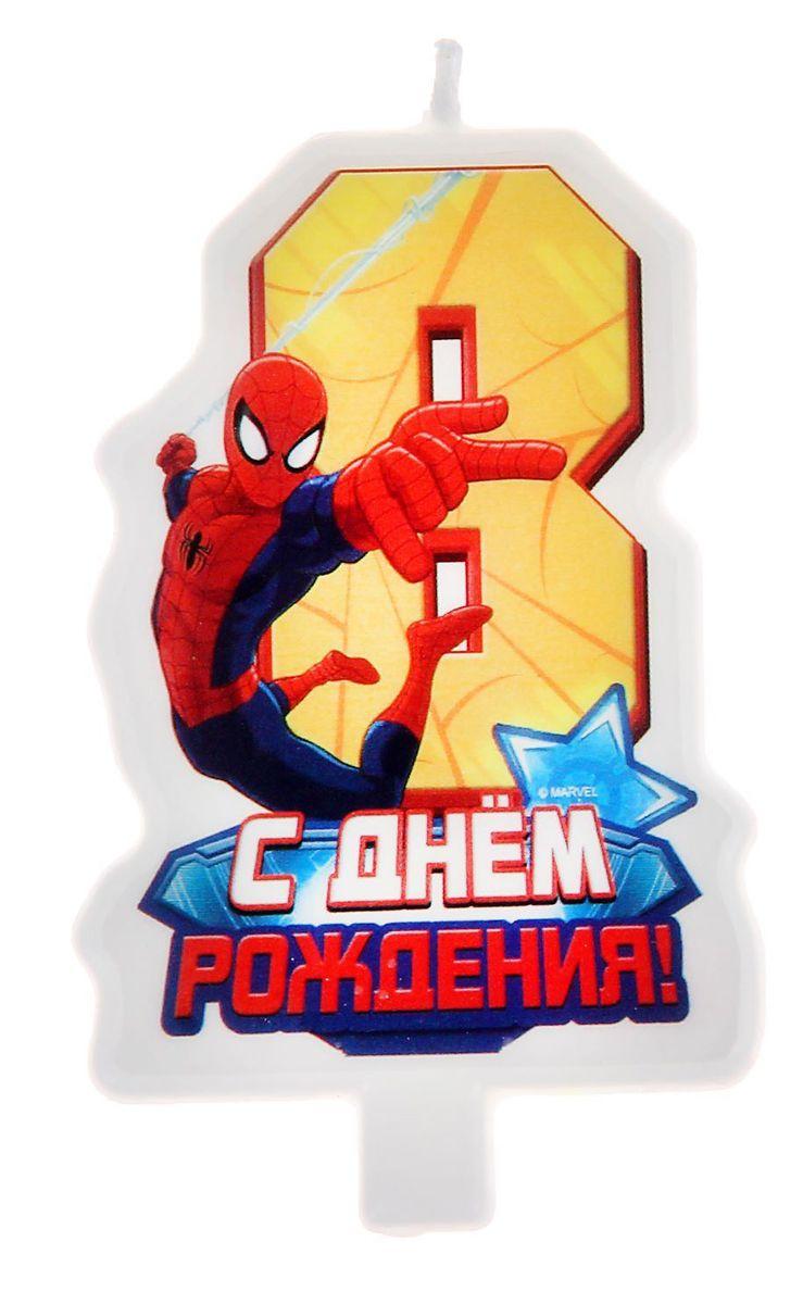 Marvel Свеча для торта С днем рождения Цифра 8 Человек Паук -  Свечи для торта