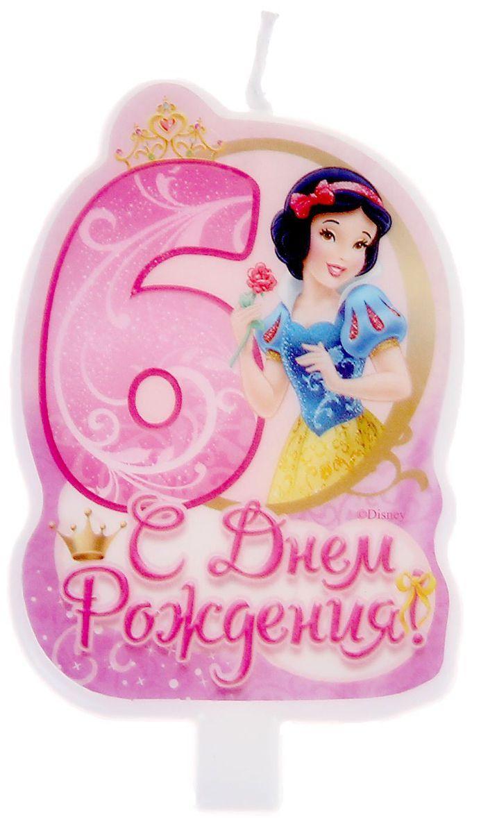 Disney Свеча для торта С днем рождения Цифра 6 Принцессы -  Свечи для торта