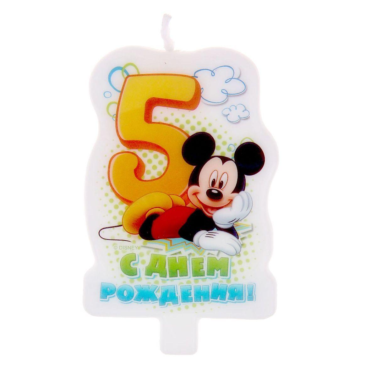 Disney Свеча для торта С днем рождения Цифра 5 Микки-Маус -  Свечи для торта
