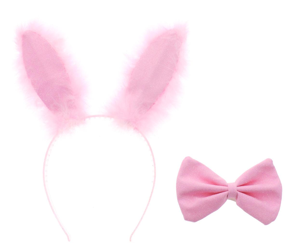 Partymania Ободок Заячьи ушки с бабочкой цвет розовый -  Аксессуры для карнавальных костюмов