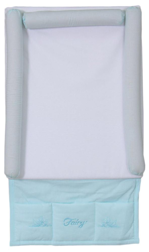 Fairy Доска пеленальная мягкая с карманом Сладкий сон цвет белый голубой