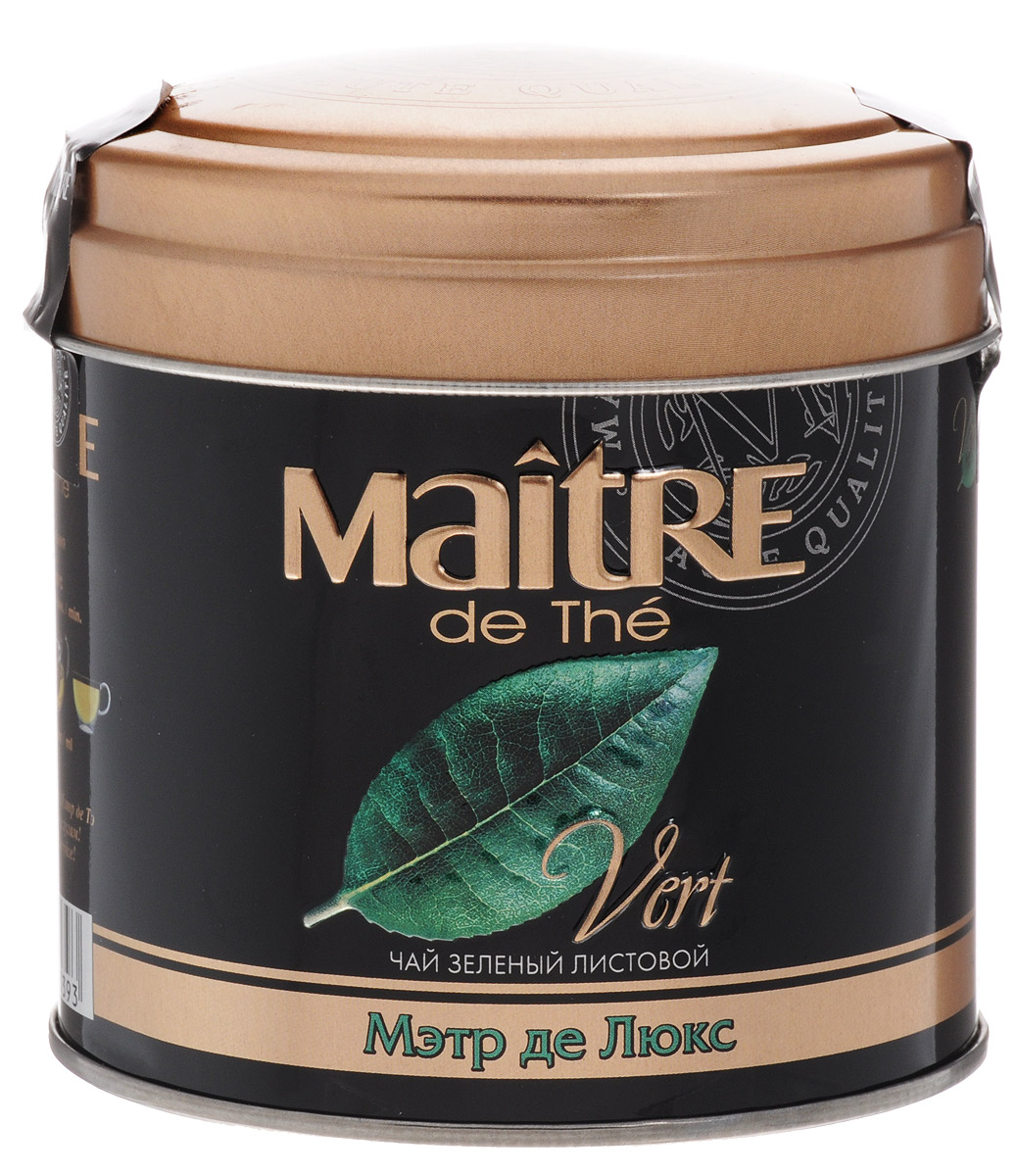 Фото Maitre de The Де Люкс зеленый листовой чай, 65 г (жестяная банка). Купить  в РФ