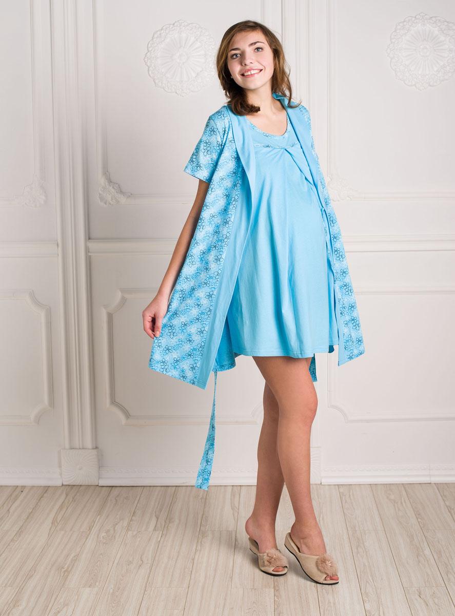 Ночнушка с халатом для беременных 74