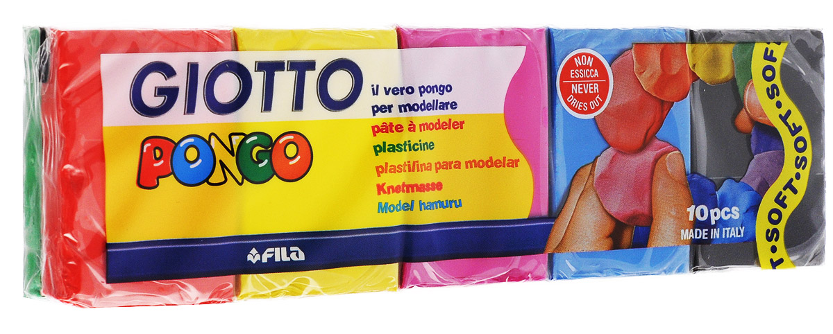 Giotto Пластилин восковой Pongo 10 цветов -  Пластилин