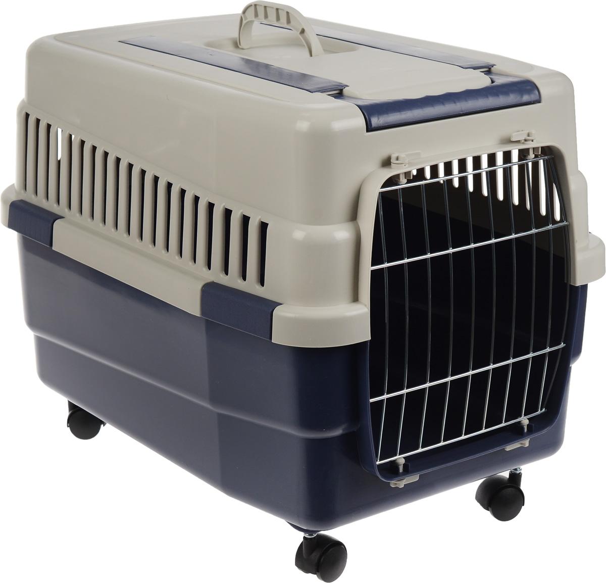 Переноска для животных IMAC  Kim 60 , на колесах, цвет: светло-серый, синий, 60 х 40 х 45 см
