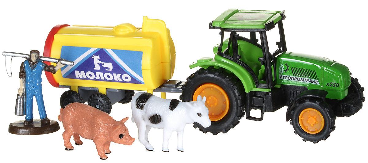 Фото ТехноПарк Игровой набор Трактор с прицепом Молоко. Купить  в РФ