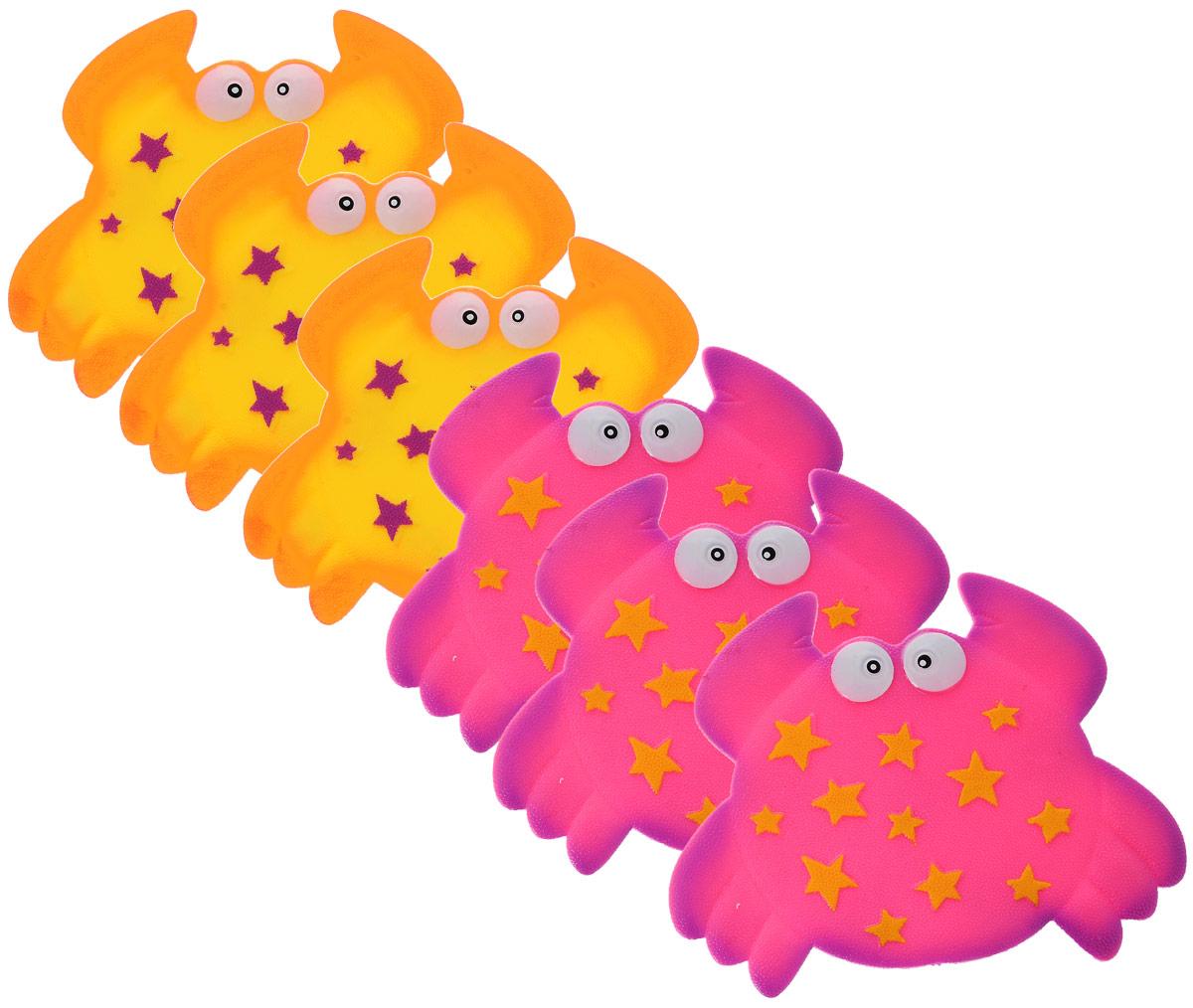 Valiant Мини-коврик для ванной комнаты Крабик на присосках цвет желтый розовый 6 шт -  Все для купания