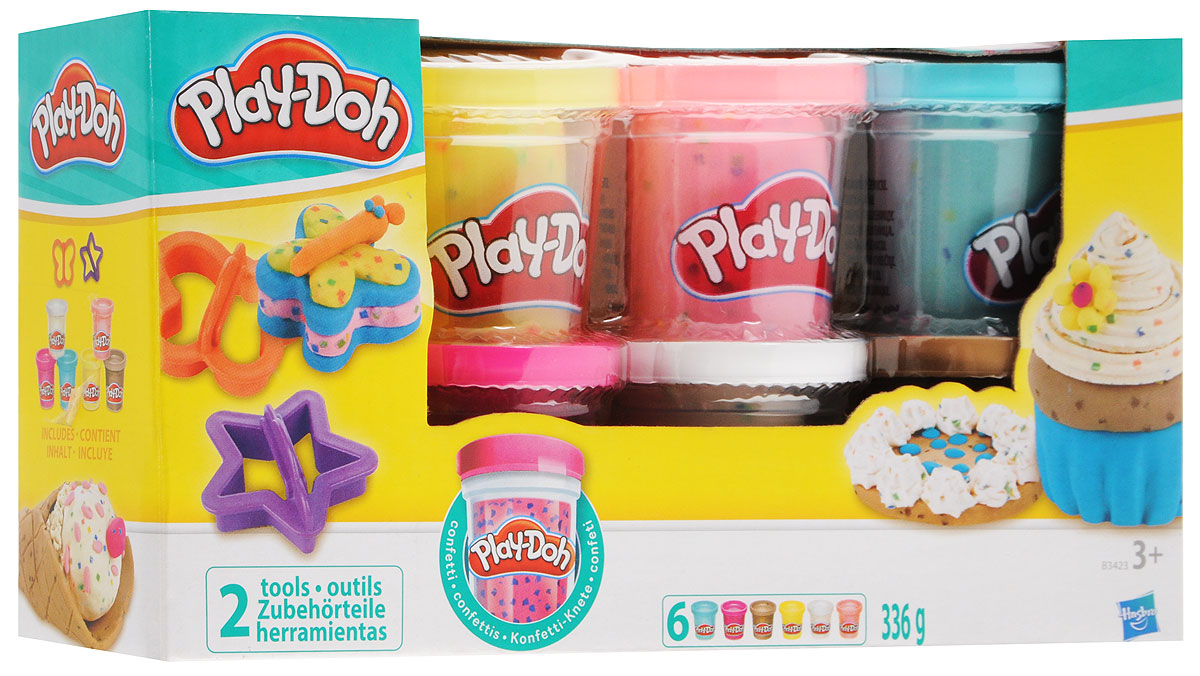 Play-Doh Набор пластилина Конфетти 6 цветов -  Пластилин