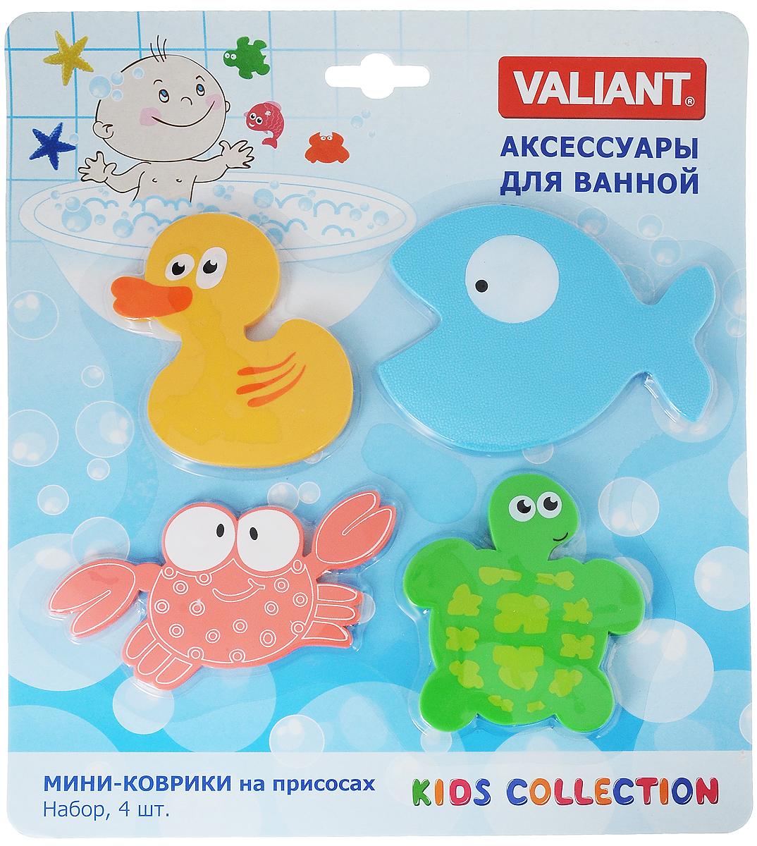 Valiant Мини-коврик для ванной комнаты Глазастики на присосках 4 шт -  Все для купания
