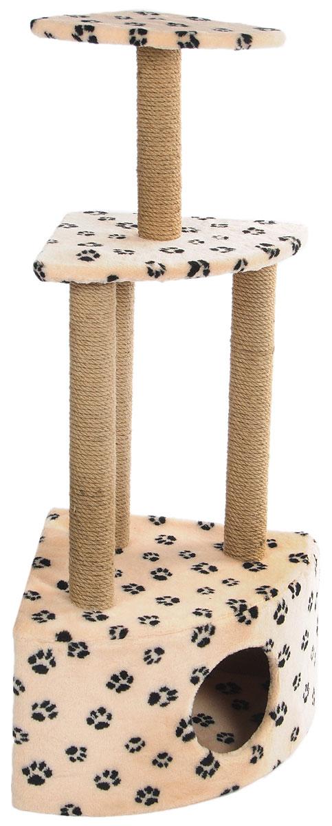Игровой комплекс для кошек  Меридиан , 3-ярусный, угловой, с домиком и когтеточкой, цвет: светло-коричневый, черный, бежевый, 59 х 43 х 111 см