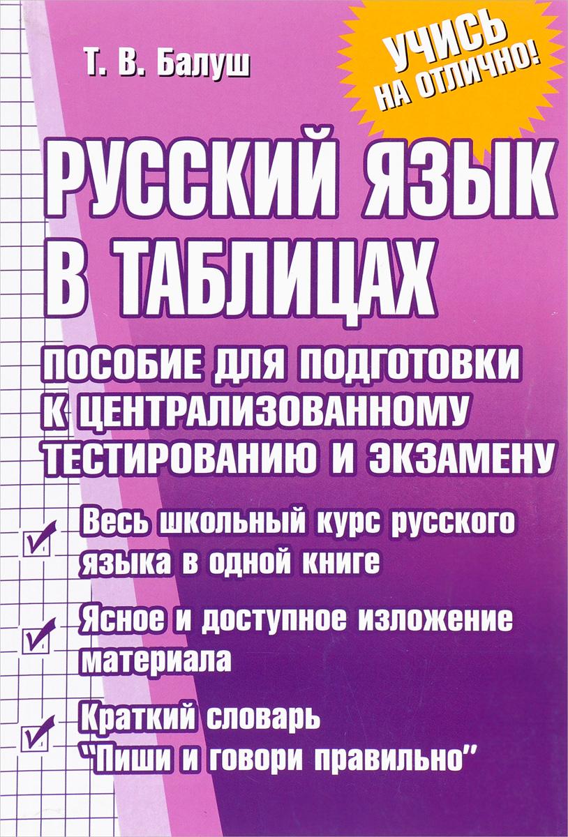 Фото Т. В. Балуш Русский язык в таблицах. Пособие для подготовки к централизованному тестированию и экзамену. Купить  в РФ