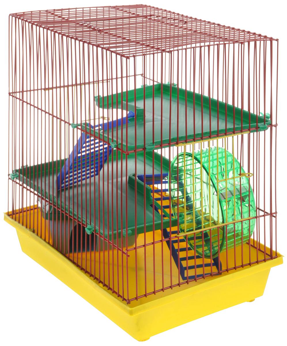 Клетка для грызунов  ЗооМарк , 3-этажная, цвет: желтый поддон, красная решетка, зеленые этажи, 36 х 22,5 х 34 см