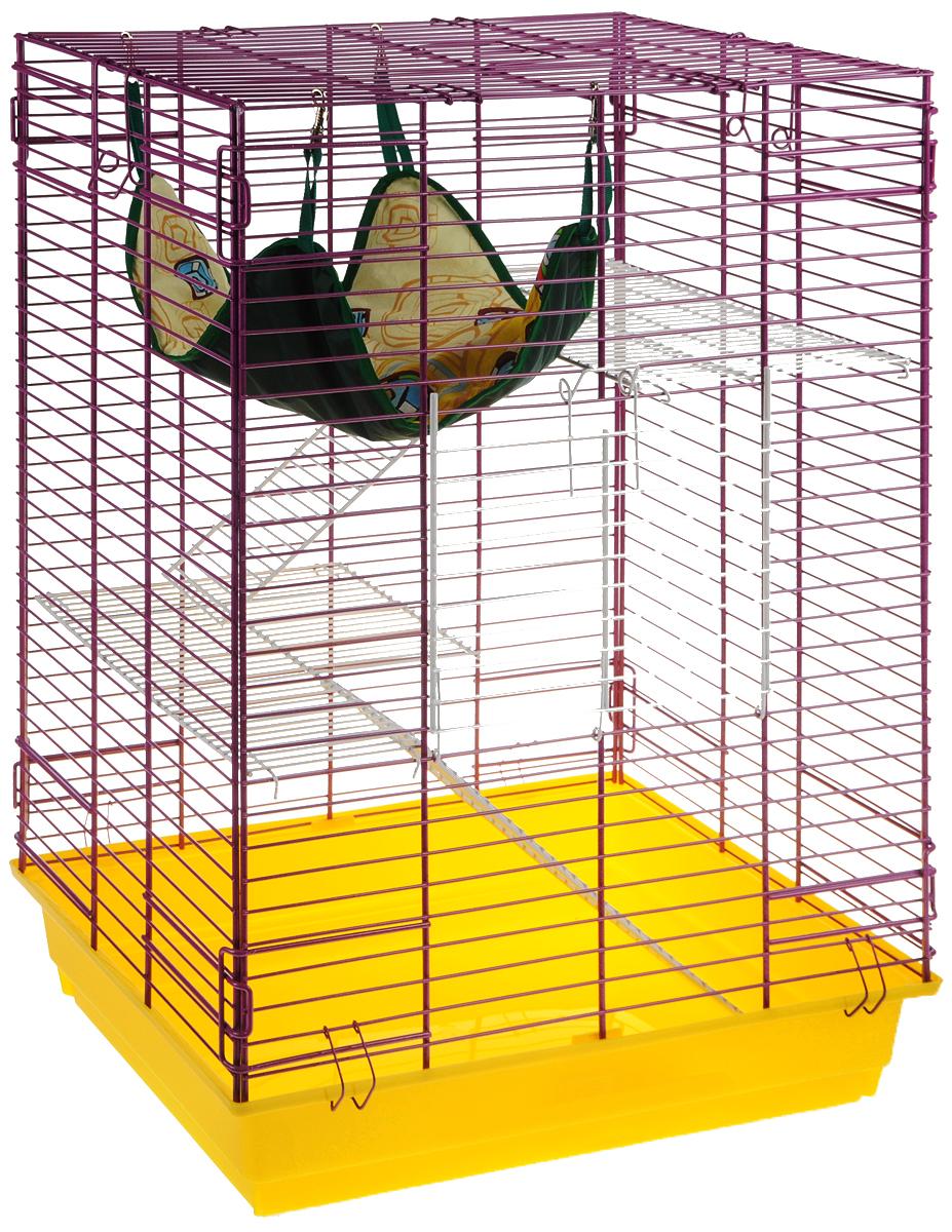 Клетка для шиншилл и хорьков  ЗооМарк , цвет: желтый поддон, фиолетовая решетка, 59 х 41 х 79 см. 725жк