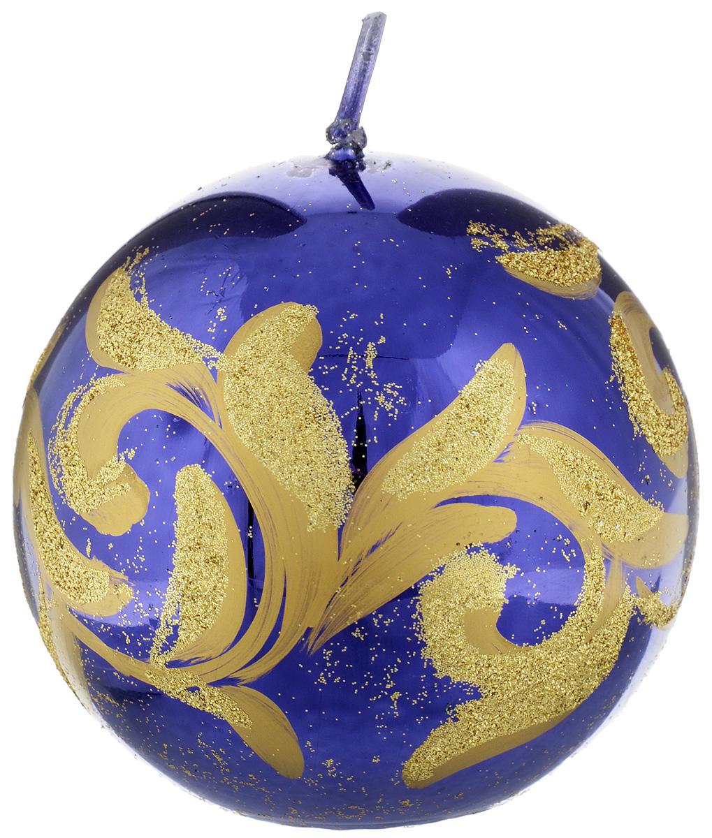 """Фото Свеча-шар Fem """"Флоренция"""", цвет: фиолетовый, золотой, диаметр 9 см. Купить  в РФ"""