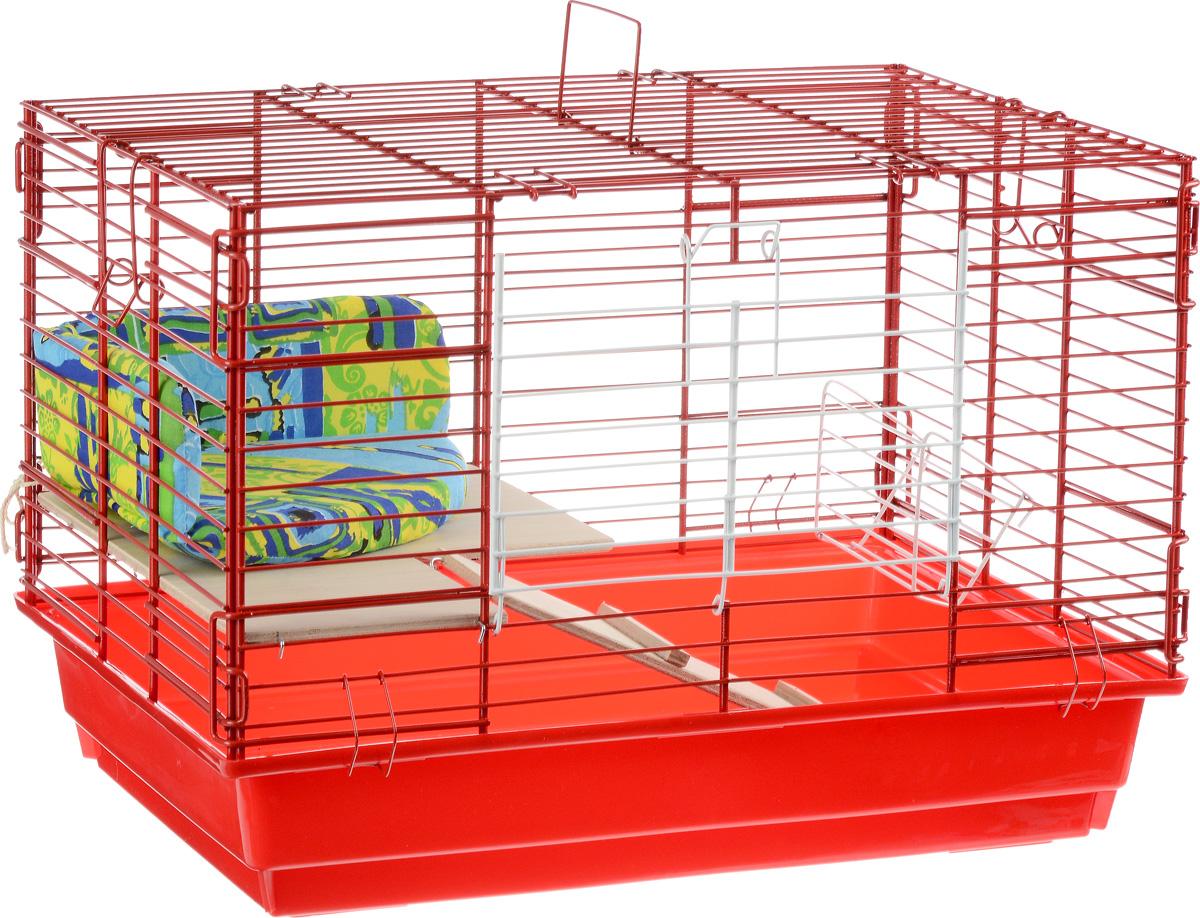 Клетка для кроликов  ЗооМарк , 2-этажная, цвет: красный поддон, красная решетка, 59 х 39 х 41 см