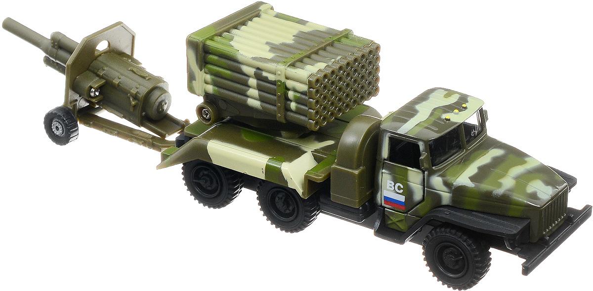 Фото ТехноПарк Машинка Урал Вооруженные Силы с пушкой. Купить  в РФ